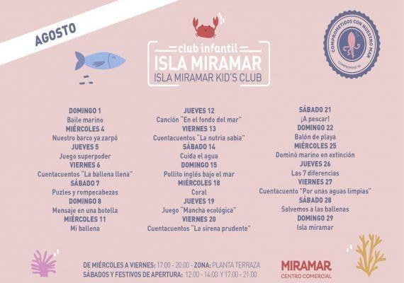 Club infantil C.C. Miramar: actividades gratis para niños en agosto