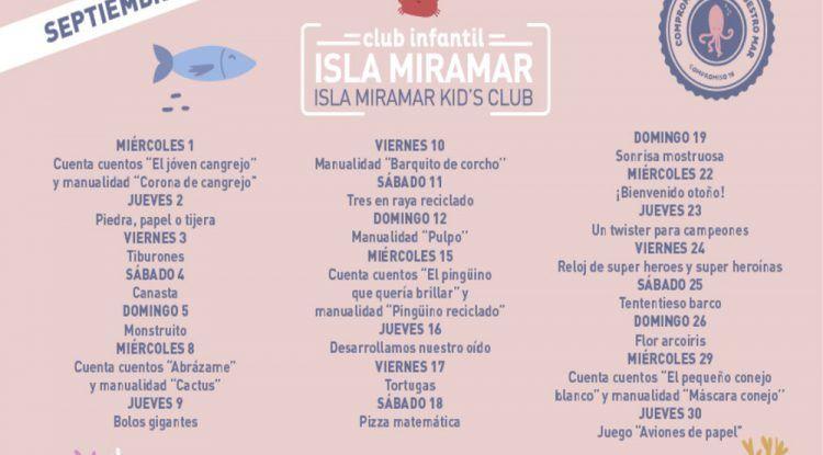 Actividades gratis en el club infantil del C.C. Miramar en septiembre